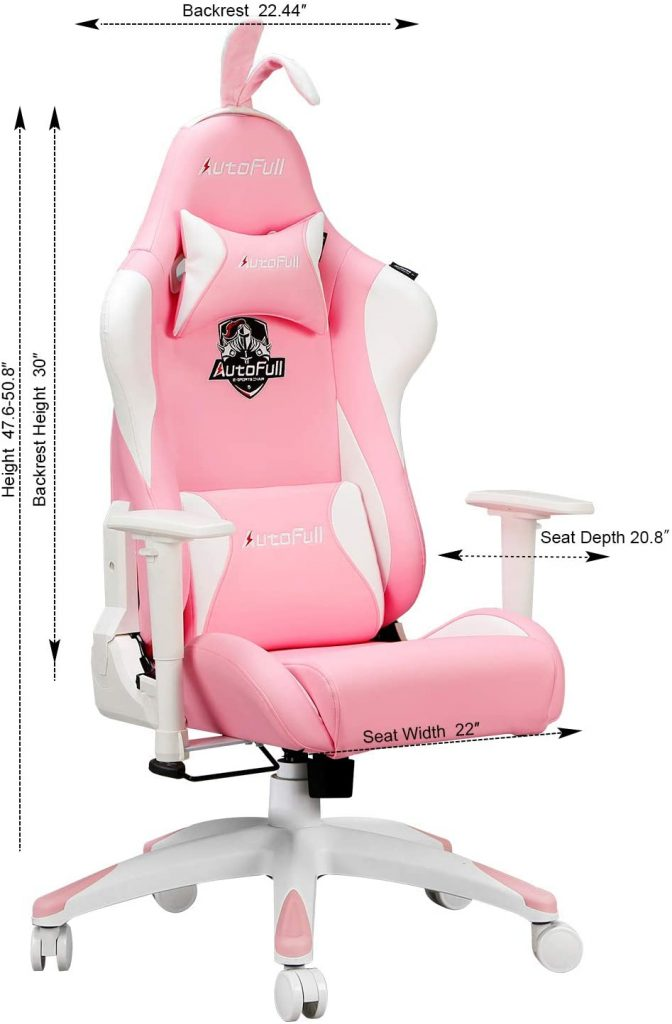 Autofull chaise gaming rose : caractéristiques